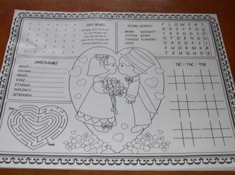 kids wedding placemats free with purchase